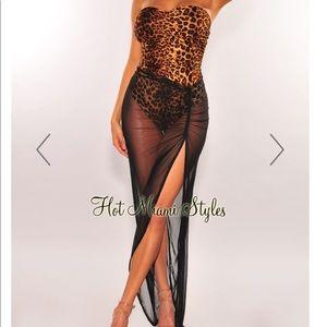 Leopard, strapless bodysuit slit mesh dress/skirt